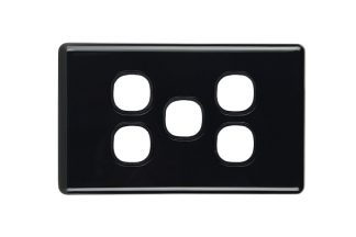 5 Gang Slimline Black Switch Plate