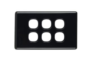 Six Gang Black Slimline Switch Plate