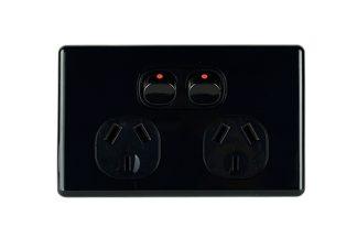 Double Powerpoint Slimline Black
