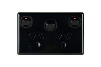 Double Powerpoint with Extra Switch Slimline Black