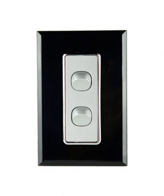 Crystal Black on Silver Double Gang Switch