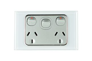 Crystal Silver Double GPO + Switch