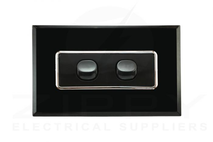 Crystal Black Double Gang Switch