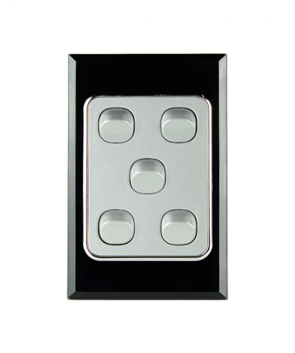 Five Gang Switch Crystal Black on Silver