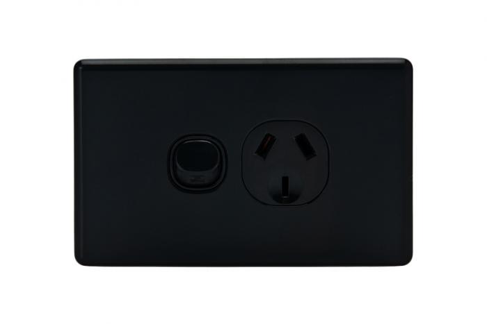 Single Powerpoint Slimline Black